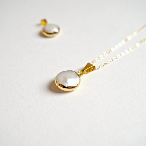 """KeepitPetite"" noble-refined imported freshwater pearl pendant · gold-plated Gold-plated necklace (40cm / 16 inches) • Gift"