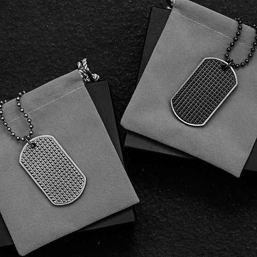 Matte black totem military license necklace jewelry Solo Accessories Royal Shield Dog Tag Necklace