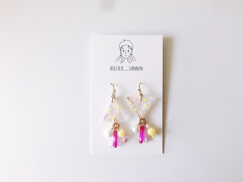 Triangle Peach Blank Earrings Handmade Earrings [Can be changed folder / anti-allergic silicone ear hook]