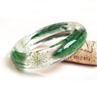 Flower said dark green winter - true flower bracelet / green / dry flower eternal flower