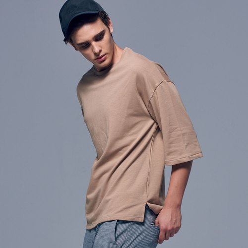 Stone'As Oversized 3/4 Sleeve T-Shirt In Khaki / Khaki seven T-shirt