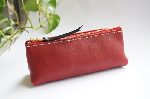 Red adult flavor leather triangle pencil case stationery bag