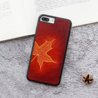 Red brown maple leaf iphone leather phone case 6s 7 8 plus x xs max xr customized