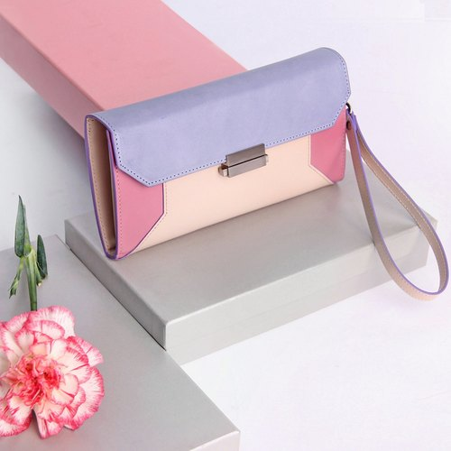 [Mell] spell color leather long wallet women macarons color