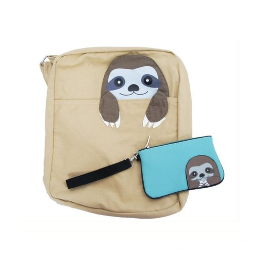 Sleepyville Critters Cool Music Village USA design - three-toed sloths playful shape rectangular canvas messenger bag + zipper bag Universal