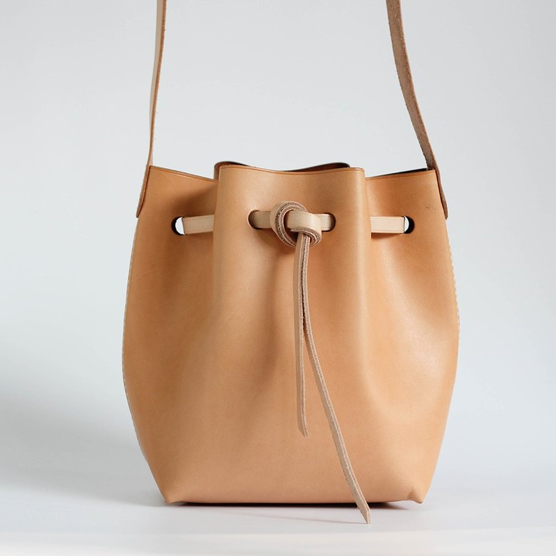 DIY Set Minimalist Bucket Bag Leather Hand Made Simple Sewing Series Pieces Punched PKIT BS003