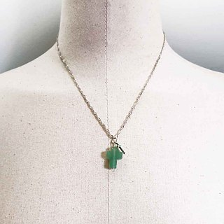 Silver Double Cross Necklace Aventurine plus Micro-Inlaid Emerald Zircon Pendant