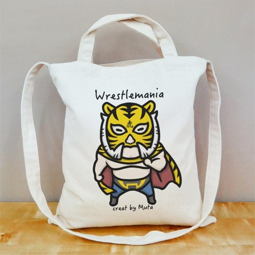 Wrestlemania [series] Tiger players straight face canvas bag