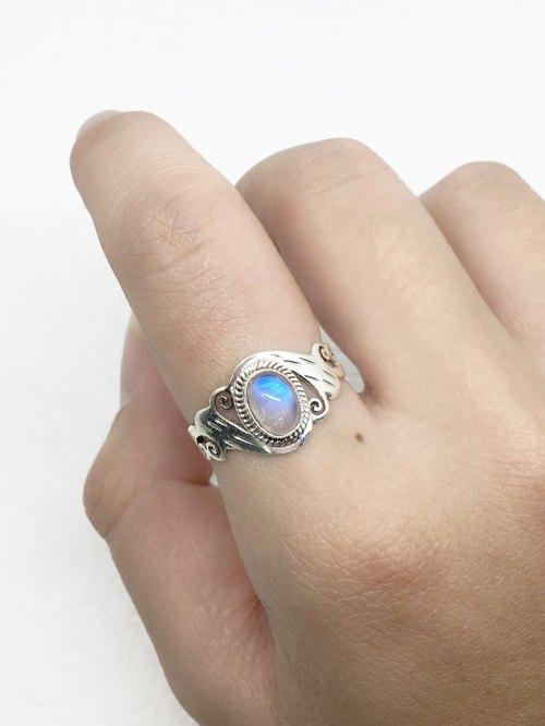 Moonlight stone 925 sterling silver carved design ring Nepal handmade mosaic production (style 1)