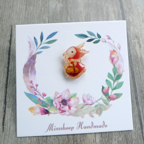 Misssheep-U17-red hat Bunny - watercolor hand-painted style Rabbit hand-made earrings (ear pin / ear clip) (single)