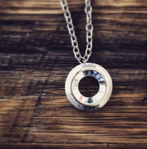 Frankness original silver hollow circle necklace - Silver / Rose Gold / manual / gift / custom / couple models