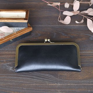 Obsidian - fog black mouth gold clutch bag long clip