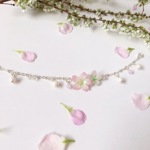 [Sakura Limited Edition] Hand-painted Pink Cherry blossoms double flower crystal pearl bracelet