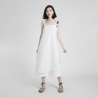 Swish slogan stitching dress _8SF122_白