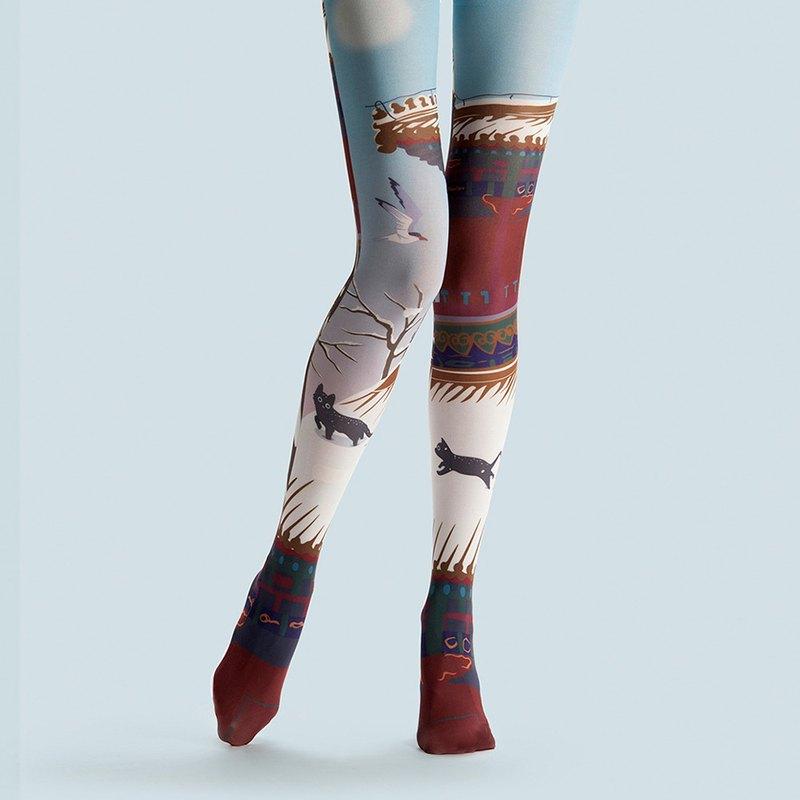 54b65126643 Viken plan designer brand pantyhose cotton socks creative stockings pattern  stockings stepping snow clear sky - Designer vikenplan