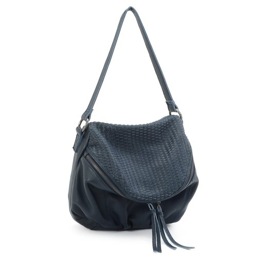 La Poche Secrete: European girl's woven bag _ deep sea blue _ shoulder bag leather bag _5032