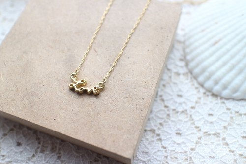 Love letter brass handmade necklace