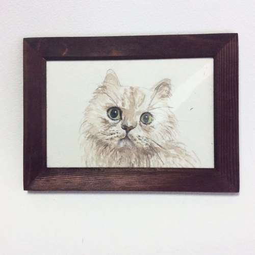 """Watercolor"" Kim Gila long-haired cat cat hand-painted original (with box)"