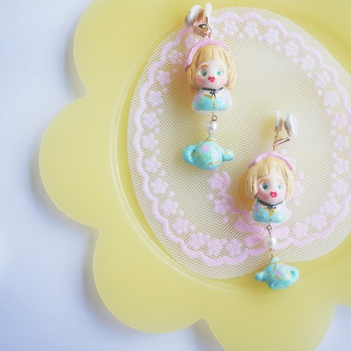 Court feeling retro girl hand clay earrings ear clip