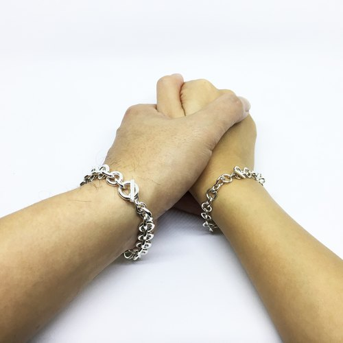 ► round wire and chain ◄ 925 silver couple silver handmade silver chain Valentine's Day gift
