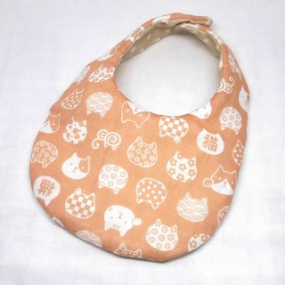 Japanese Handmade 4-layer-double gauze Baby Bib / Lucky cat pink
