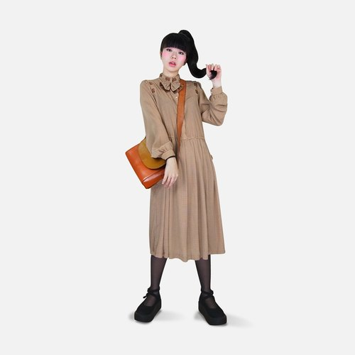 A‧PRANK: DOLLY :: Rustic Style VINTAGE retro styling with tie khaki coffee vintage fine Plaid Dress