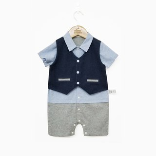 Baby gentleman fake two piece jumpsuit baby summer climbing suit full moon