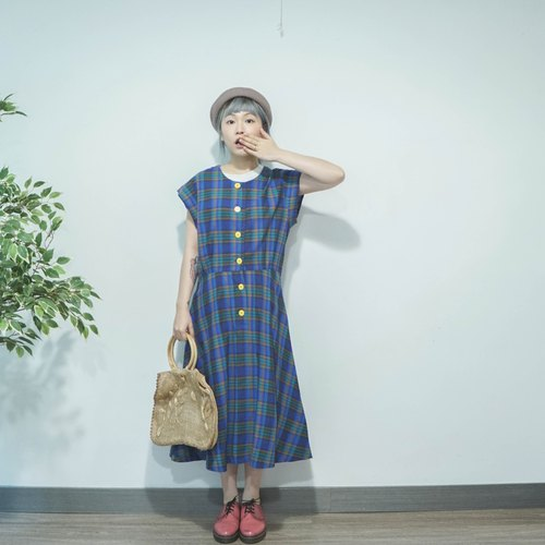 Antique | Japanese | Lovely Sapphire Blue Check Small Yellow Button Cotton Temples Short Sleeve Dress