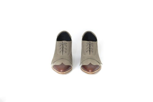 ZOODY / fluttering / handmade shoes / rough with Oxford bags shoes / khaki + coffee red