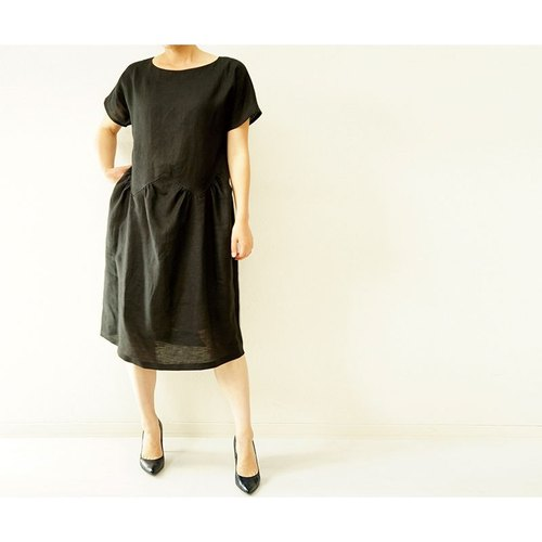 [Wafu] Lithuania linen 100% zigzag frieze romanesque dress / Black a36-4