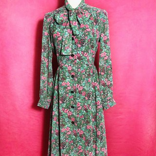 Flower tie bow line long sleeve vintage dress / abroad bring back VINTAGE