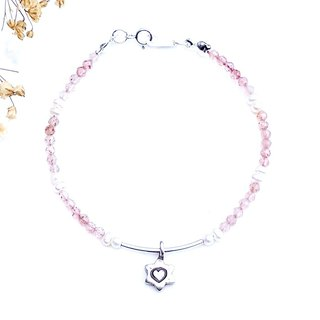 <Weekly Guardian Stone - Friday> Strawberry Crystal Pearl 925 Sterling Silver Bracelet Thursday