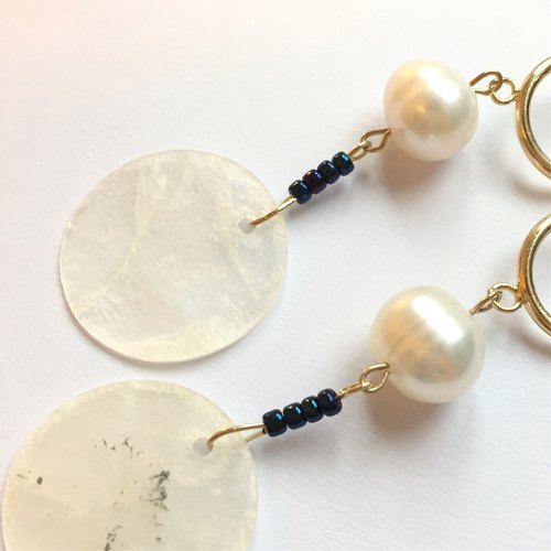 Pearl almond needle / clip-on earrings