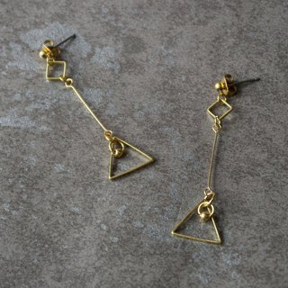 geometry. Geometric brass detailed long earrings