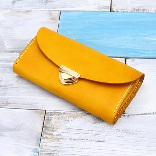 [Cut line] special section leather handmade organ wallets / large capacity ladies retro long folder 006 buckle hand-stained autumn leaves yellow