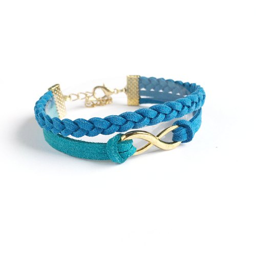 Handmade Double Braided Infinity Bracelets Rose Gold Series–azure blue[limited]