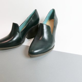 Painting # 8073 || Pointed high-heeled shoes modern trendy collection of seaweed dark green ||
