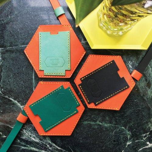 Sonniewing's Playful Hexagon Orange / Black Leather Card Holder