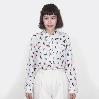 Vintage insect pattern chiffon vintage long sleeve shirt BM4004 on white