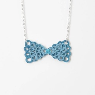 《Made To Order》『Mini Double Bow』Turquoise Tatting Necklace