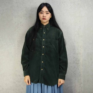 Tsubasa.Y Antique House A14 Dark Green Corduroy Shirt, Corduroy Shirt