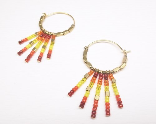 """Two silver"" [Indian - red beaded brass ring earrings] (one pair)"