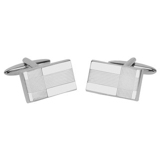 Silve Etched Lines Cufflinks
