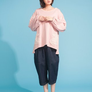 Pink gloves long-sleeved T-shirt 123F318