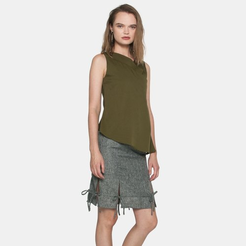 Lapel Layered Top (Olive)
