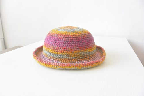 Handmade knit dome cap - Pink