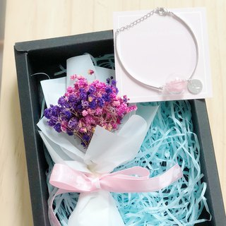Preserved flower glass ball bracelet personalized Box set pink