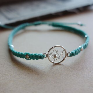 Dream catcher Dreamcatche 925 sterling silver silk wax braided bracelet silver