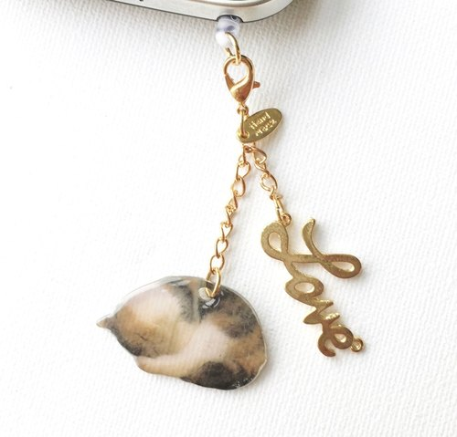 Sweet Dreams Sleeping Cat Jojo Handmade Zipper Charm Smartphone Dust Plug