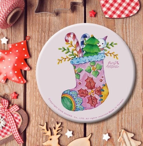 Painted Absorbent Ceramic Coasters – Christmas sock